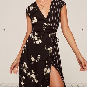 Reformation Sabrina Contrast Print Wrap Dress (L)